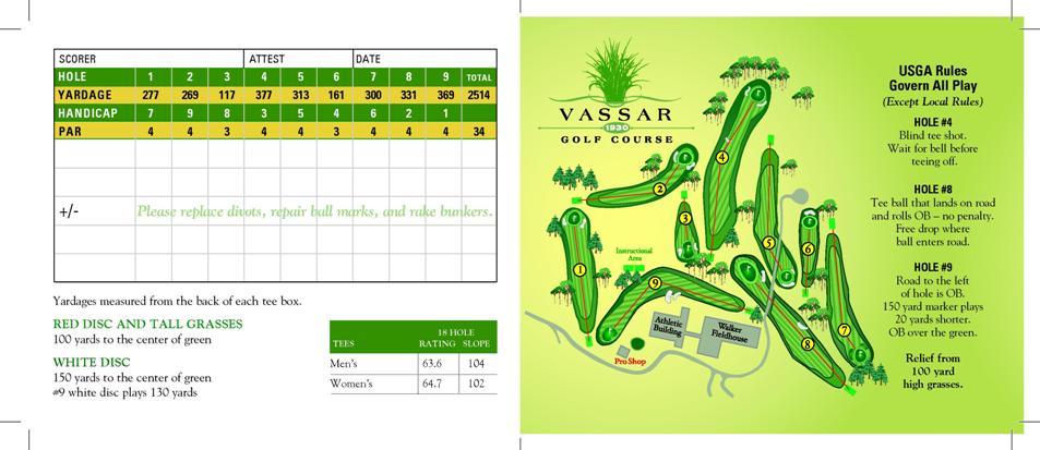 Vassar Golf Course - Score Card